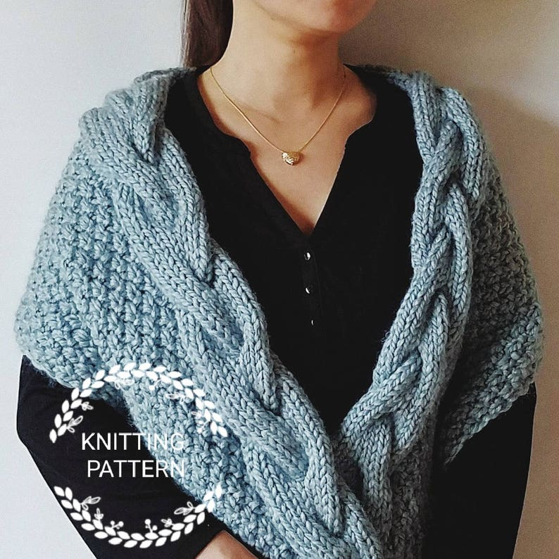 Knitting Pattern Helena Shawl Pattern Braided Cable Shawl Etsy