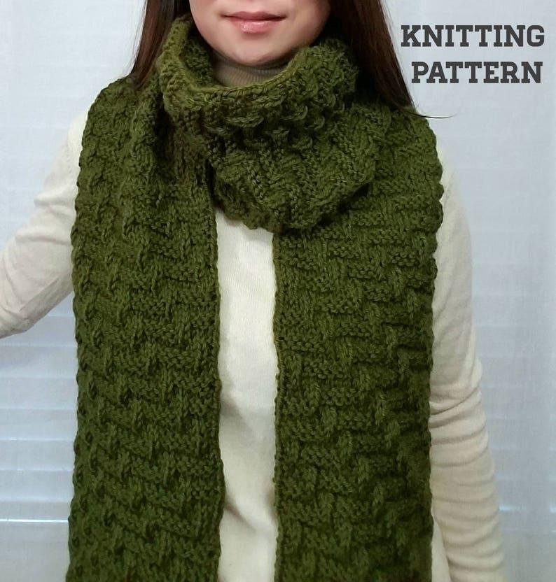 Knitting Pattern Knit Diagonal Bricks Pattern Knit Scarf Etsy