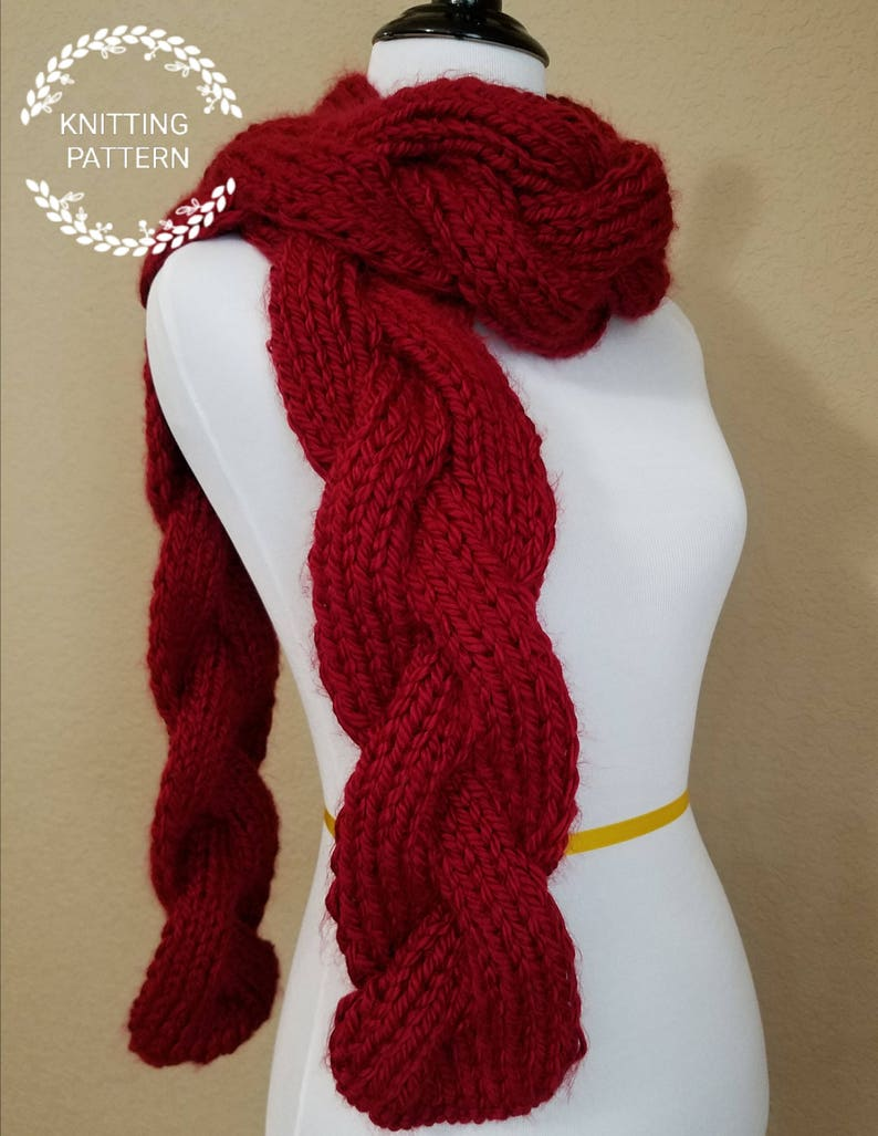 Knitting Pattern Reversible Braid Cables Scarf Pattern Etsy