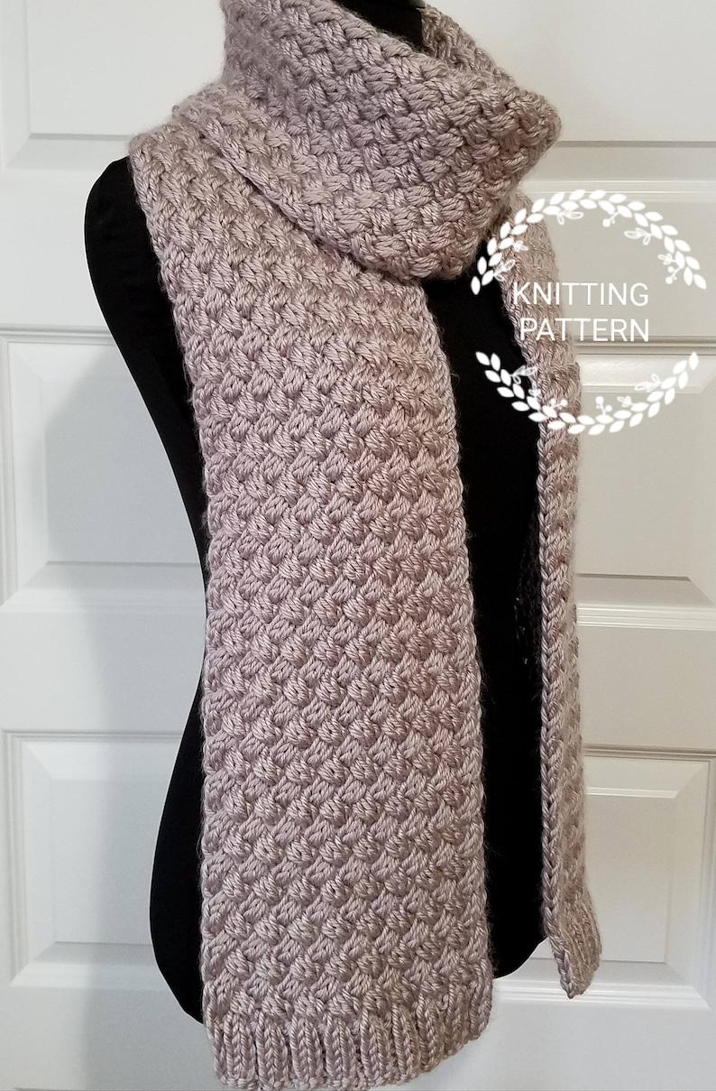 Knitting Pattern Diagonal Weave Scarf Pattern Pdf Pattern Etsy