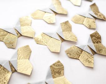10 Origami Paper Butterflies - paper butterflies, gold butterfly, decoration, scrapbook embellishments, wedding
