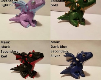 Custom Painted 3D Printed Dragon Any Color You Want!