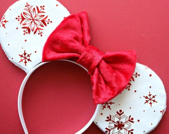 holiday red snowflake minnie ears mickey ears mouse ears disney ears christmas disney christmas snowflake ears holiday ears winter