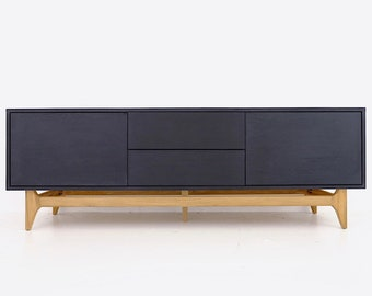 """70.5"""" Free Shipping to Continental USA Matte Ebony Black White Oak Media Center Media Console TV Stand Mid Century Modern Handcrafted"""