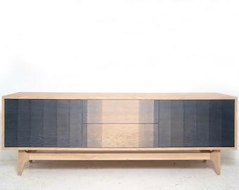 "70.5"" Linear I of III   white oak ombre gradient media center natural gray black"