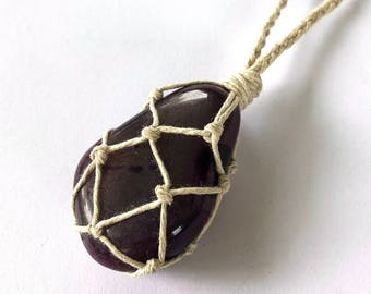 Purple Agate Necklace Wrapped in Hemp