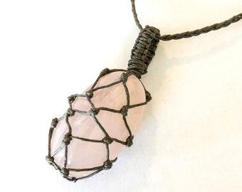 Rose Quartz Hemp Wrapped Macrame Adjustable Necklace