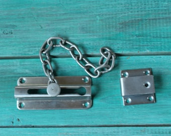 Housewarming gift for homes Gift for host and hostess gift Stainless steel lock Old lock Vintage lock chain Metal lock Soviet lock USSR lock