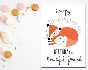 Happy Birthday My Beautiful Friend Fox Illustration Digital Card Best Instant Download
