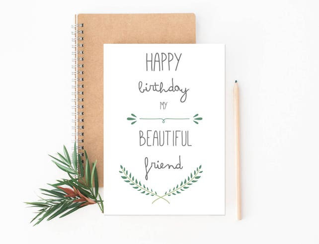 Best Friend Birthday Card Bestie Card Typographic Card Etsy
