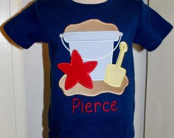 1c9a729d8 Beach Bucket Pail Applique Shirt Boy Girl Starfish Shovel Summer  Personalized
