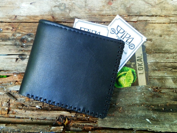 Little Minimalist purse Gift for boyfriend Free Shipping! Black Leather Wallet Purse for Her
