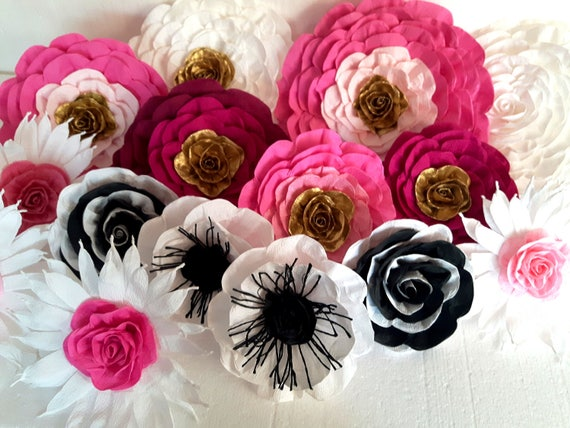 12 giant large paper flowers pink gold white black backdrop etsy image 0 mightylinksfo