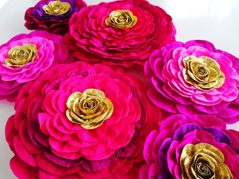 10 Large Paper Flowers Red Purple Gold Magenta Wall Backdrop Moroccan Arabia Night Party Decoration Baby Bridal Shower Birthday Hindu