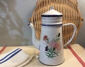 Vintage French Carnation Flower Enamelware Stove Top Coffee Maker, Enamel Pot Cafetiere, Decorated Enamel Coffee Pot, French Enamelware.