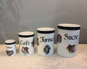 4 Vintage Dog Themed Kitchen Jars   Retro Ceramic Spice Jars   French Vintage  Kitchen Jars