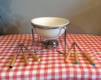 Vintage Chocolate Fondue Set, White Ceramic Fondue Pot, Fondue Set including 6 forks