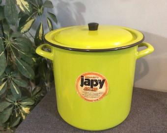 Vintage Large JAPY Enamel Casserole Pot, Enamelware Casserole, Large Enamel Pot with Lid, Lidded Enamel Pot