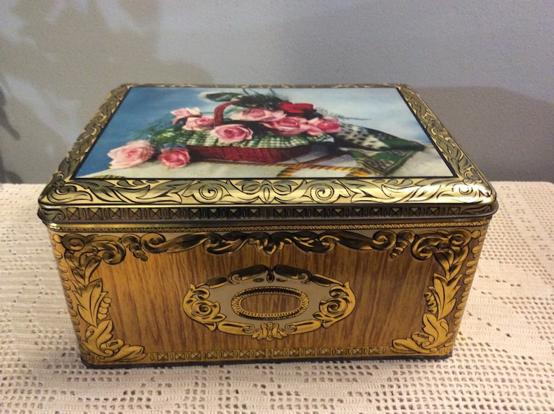 Roses Decorated Embellished Tin Box Old Collectors Metal Sweet box Vintage French Embellished Tin Chocolate box