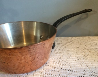 Heavy Vintage Copper Slope Sided Sauteuse Pan, Heavy 3mm Copper Saucepan, Professional Saucepan, Chefs Pan