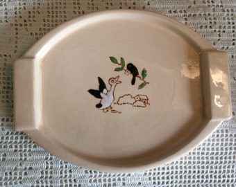 LONGWY Emaux Embossed Small Platter, French Vintage Enameled Longwy Serving Plate with Design in Relief