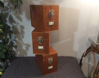 Vintage Library Card Catalog Box, 3  Filing wood boxes, Kardex Label Holder, La Fiche Cardex, Alphabetical organizer