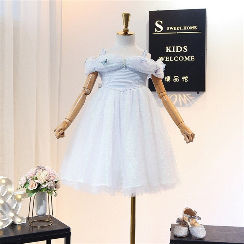 3T-Tulle TuTu Flower girl dress  Birthday Lace Piano Performance dresses for girl toddler party dress bowknot  flowers