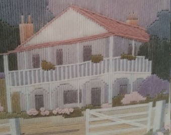 Vintage embroidery kit, quaint old house, australian home,  colonial look. Longstitch kit. Fabric wool needle included.