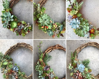 """For birthday or housewarming: 12"""" (30cm) Living succulent wreath (MADE TO ORDER)"""