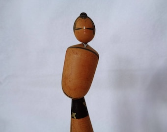 VJ850 :RESERVED  Kokeshi doll,Old Japanese wooden Artistic Kokeshi doll on stand,signed,hand made in Japan