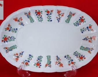 VJ707:Fine large oval Imari platter,KisenJapanese Porcelain Imari-Arita platter decorated with floral and birds,KISEN MARK,handmade in Japan
