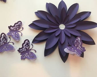Purple Wall Flower Set