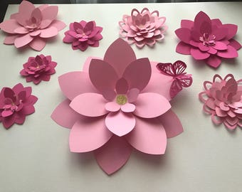Pink Wall Flower Set