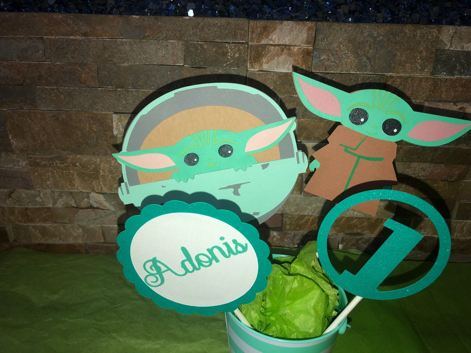 Baby Yoda Centerpiece Sticks