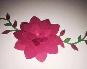 Pink Wall Flower with Leaves