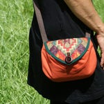 "Small satchel shoulder flap ""Lantana"" - Orange geometric print"