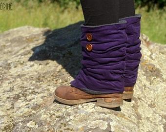 Leggings - leggings in purple cotton velvet and polar organic cotton
