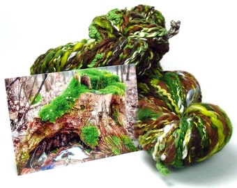 Treestump. Set or single skeins of two handspun art yarns with different add-ins. Perfect for any craft or use as doll hair!