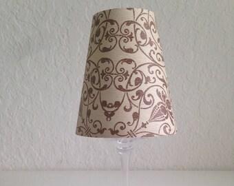 Cream Ornate Design Wine Glass Lamp Shade