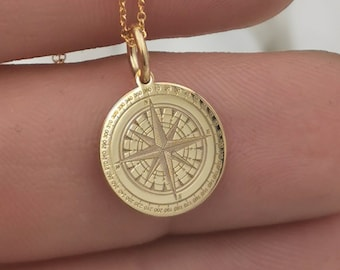 Compass necklace, compass jewelry, 14K solid gold necklace, compass gift, compass charm, personalized compass, custom pendant, traveler gift