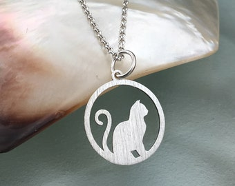 Cat necklace, brushed necklace, animal necklace, sterling silver necklace cat pendant, kitty necklace, cat jewellery, dainty necklace