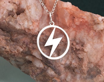 Lightning necklace, silver necklace, lightning bolt necklace, lightning charm, lightning jewelry, dainty necklace, custom silver necklace