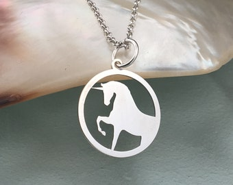 Unicorn necklace, silver necklace, unicorn jewelry, unicorn pendant, animal necklace, unicorn charm, necklace for women, dainty necklace