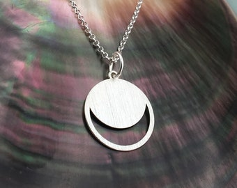 Moon necklace, silver necklace, brushed necklace, double horn necklace, dainty necklace, everyday necklace, gift for her, delicate necklace