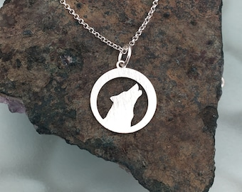 Wolf necklace, animal necklace, sterling silver necklace, brushed necklace Howl necklace, charm necklace, dainty necklace, wolf pendant