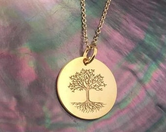 Tree of life necklace, Tree Necklace, 14k solid Gold necklace, Custom Tree of life necklace, delicate jewelry, Gold necklace, charm necklace