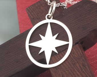 Star necklace, silver star necklace, sterling silver pendant, star jewelry, celestial necklace, dainty jewelry, delicate necklace