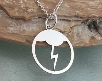 Lightning pendant, sterling silver, cloud necklace, dainty necklace, bolt necklace, delicate necklace, lightning necklace
