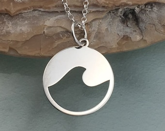 Wave necklace, wave pendant, dainty necklace, delicate pendant, sea jewelry, sterling silver necklace, silver pendant,