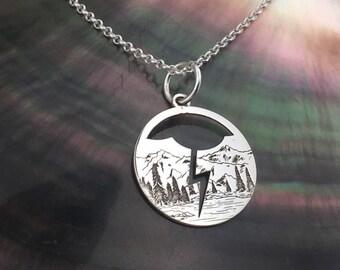 Lightning necklace, Engraved pendant, sterling silver, cloud necklace, dainty necklace, bolt necklace, delicate necklace, lightning necklace
